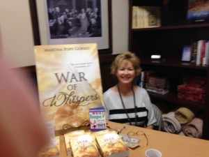 martha at book table
